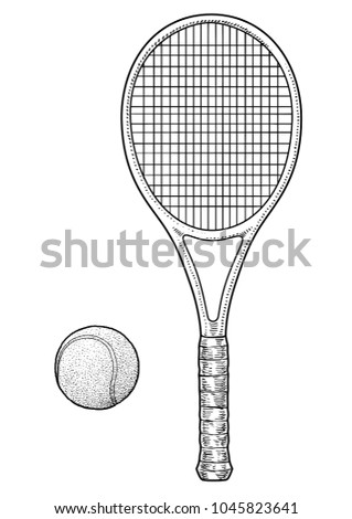 Tennis racket and ball illustration, drawing, engraving, ink, line art, vector