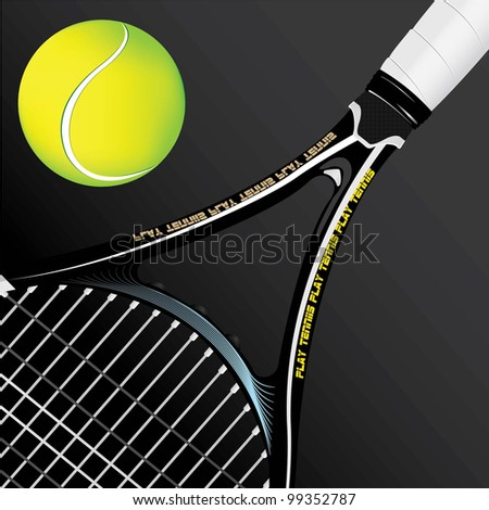 Tennis racket and ball on black