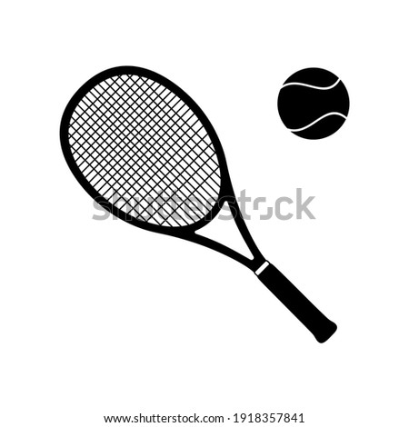 Tennis Racket and Ball Vector Icon Black silhouette isolated on white Сток-фото ©