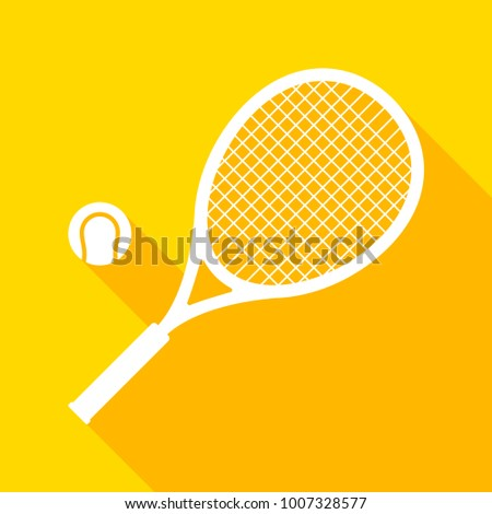 Tennis racket and ball with long shadow