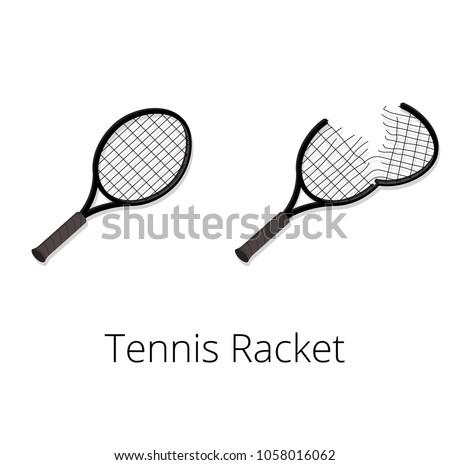 Tennis racket and torn tennis racket