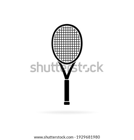 Tennis racket black silhouette, icon isolated on white background. Simple flat design. Vector illustration. Сток-фото ©