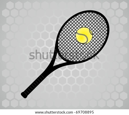 Tennis racket in gray background