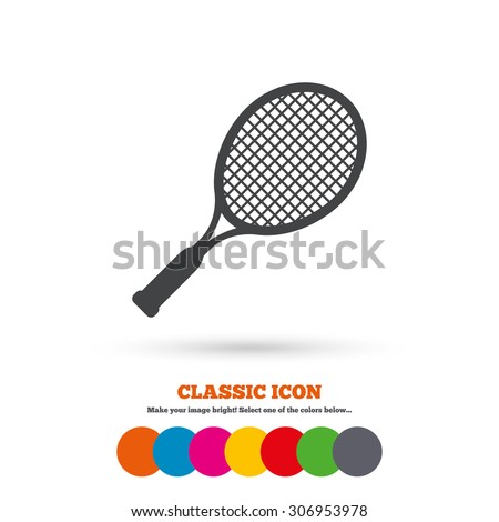 Tennis racket sign icon. Sport symbol. Classic flat icon. Colored circles. Vector