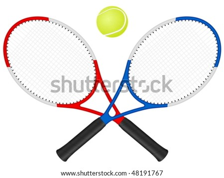 Tennis rackets and ball on a white background. Vector illustration.