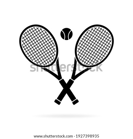 Tennis rackets crossed and ball silhouette, icon isolated on white background. Simple flat design. Vector illustration. Сток-фото ©