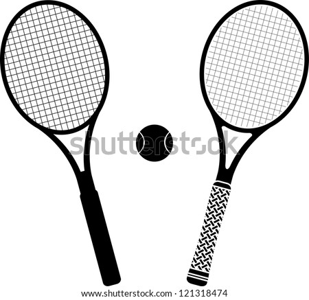tennis rackets. stencil and silhouette. vector illustration