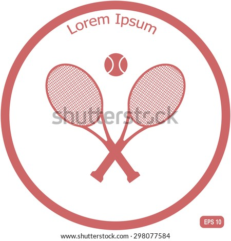 Tennis rackets with ball vector icon