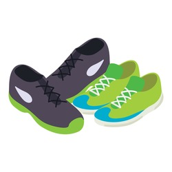 Tennis shoes icon isometric vector. Sport footwear icon. Two pair sport shoes