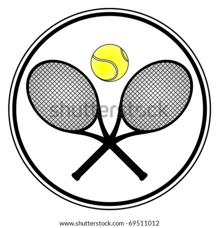 Tennis signal with two rackets and a  one ball