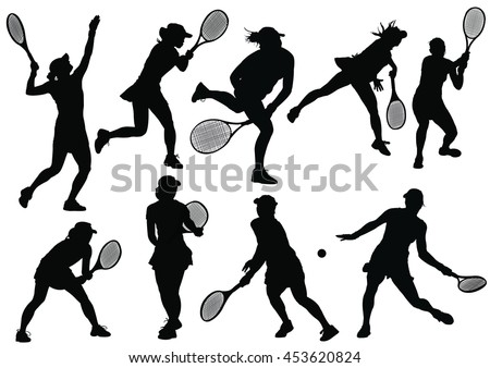 tennis silhouettes on the white background