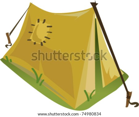Tent cartoon vector illustration