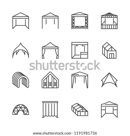 Tent flat line icons. Event pavilion, trade show awning, outdoor wedding marquee, canopy vector illustrations. Thin signs of mobile party booth. Pixel perfect 64x64. Editable Strokes.