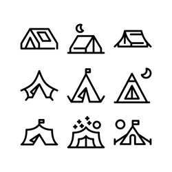 tent icon or logo isolated sign symbol vector illustration - Collection of high quality black style vector icons