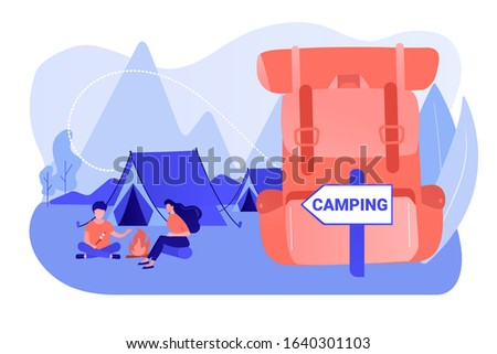 Tent in forest, tourists hiking, backpacking holiday. Summer camping, family camping adventure, sleepaway camp, best camping gears here concept. Pinkish coral bluevector isolated illustration