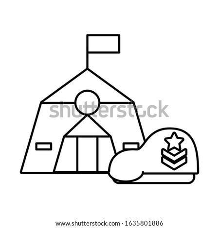 tent military force with green beret vector illustration design