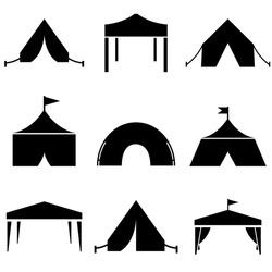 Tent set icon, logo isolated on white background
