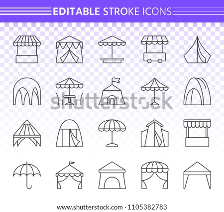 Tent thin line icons set. Outline web sign of umbrella. Marquee linear icon collection includes sandbox, camp, market. Editable stroke without fill. Tent simple vector symbol. Transparent background