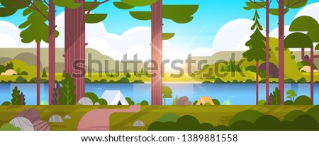 tents camping area in forest summer camp concept sunny day sunrise landscape nature background with water mountains and hills flat horizontal