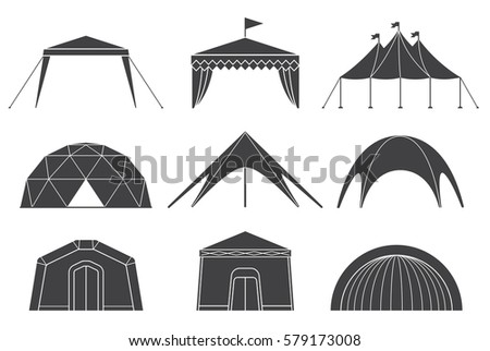 Tents for camping in the nature and for outdoor celebrations. Set of various designs of tents for camping and pavilion tents.
