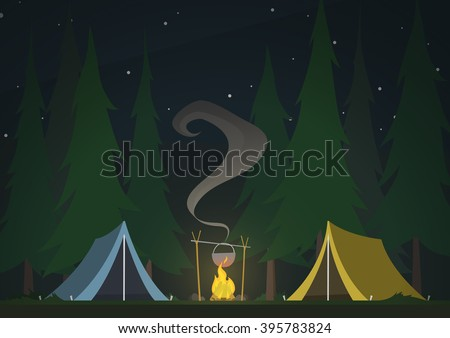 tents with bonfire on dark