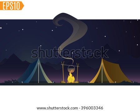 tents with bonfire on on a