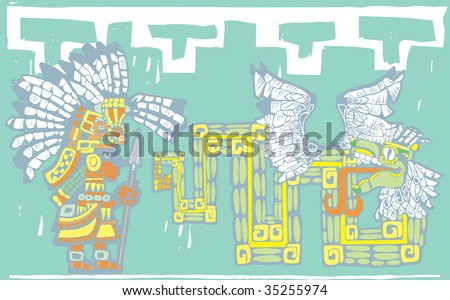 Teotihuacan Warrior in temple mural style with Kukulcan. - stock vector