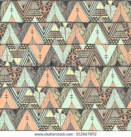 Tepee seamless pattern. Wigwam native american summer tent illustration in vector. Indian background.  sc 1 st  Vecteezy & Tipi Indian Pattern Vector - Download Free Vector Art Stock ...