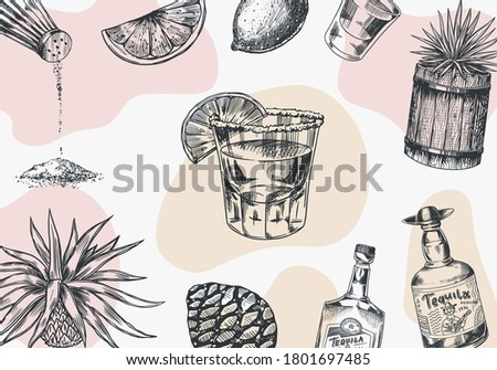 Tequila background. Glass bottle, shot with lime, blue agave Plant and barrel. Retro poster or banner. Engraved hand drawn vintage sketch. Woodcut style. Vector illustration. Foto stock ©
