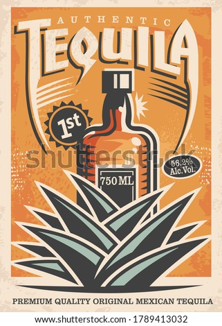 Tequila poster design with drink bottle and blue agave plant made for bars and pubs. Alcohol beverage advertisement with one of the most popular drinks. Vector illustration traditional Mexican tequila Foto stock ©