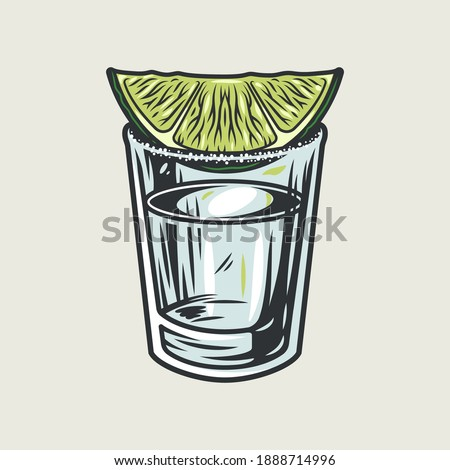 Tequila shot with lime and salt. Hand drawn illustration converted to vector isolated on white background Foto stock ©