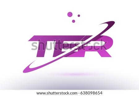 ter t e r  alphabet letter logo combination purple pink creative text dots company vector icon design template Stok fotoğraf ©