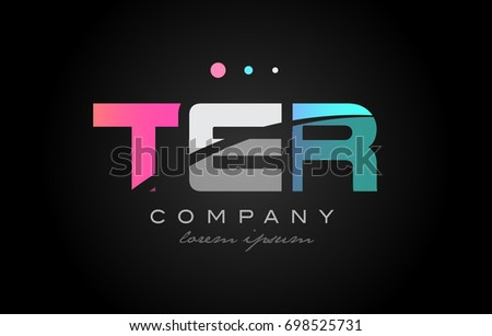 TER t e r three 3 letter logo combination alphabet vector creative company icon design template modern  pink blue white grey Stok fotoğraf ©
