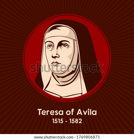 Teresa of Avila (1515 - 1582), a Carmelite nun, prominent Spanish mystic, religious reformer, author, theologian of the contemplative life and of mental prayer. Photo stock ©
