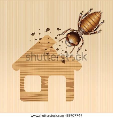 Termite damage house, Vector