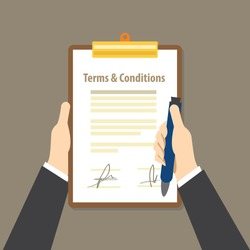 terms and condition paper legal agreement signed