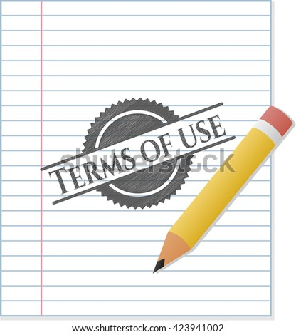 Terms of use drawn with pencil strokes
