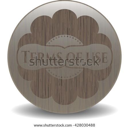 Terms of use wooden emblem. Vintage.