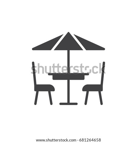Terrace cafe icon vector, filled flat sign, solid pictogram isolated on white. Symbol, logo illustration. Pixel perfect vector graphics