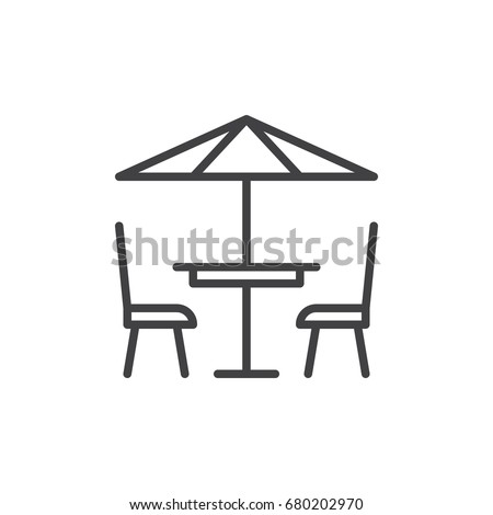 Terrace cafe line icon, outline vector sign, linear style pictogram isolated on white. Symbol, logo illustration. Editable stroke. Pixel perfect vector graphics