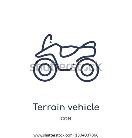 terrain vehicle icon from transport outline collection. Thin line terrain vehicle icon isolated on white background.