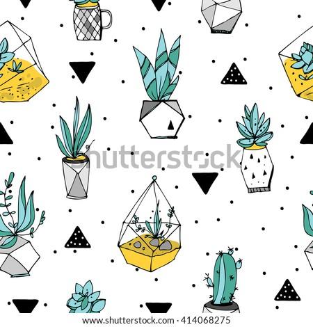 terrarium seamless pattern