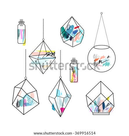 terrariums set of geometric