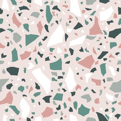 Terrazzo flooring seamless pattern. Pastel colors. stone mosaic made in colored polished pebble. Vector