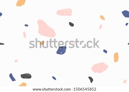 Terrazzo modern vector seamless pattern. Granite fragments, irregular shapes abstract backdrop. Chaotic mosaic small pieces on white background. Stones texture. Marble textile, tile design.