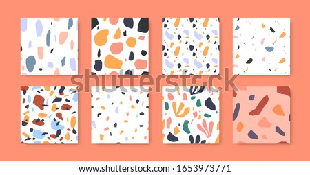Terrazzo seamless pattern collection in diverse colorful styles with abstract mosaic stone shapes. Modern terrazo minimalist art background set ideal for print, fashion or trendy design project. ストックフォト ©