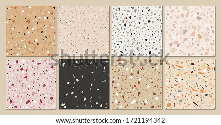 Terrazzo texture classic italian floor composed of natural stone, granite, quartz, marble, glass and concrete. Vector terrazzo veneziano seamless pattern. Stone abstract background for interior design
