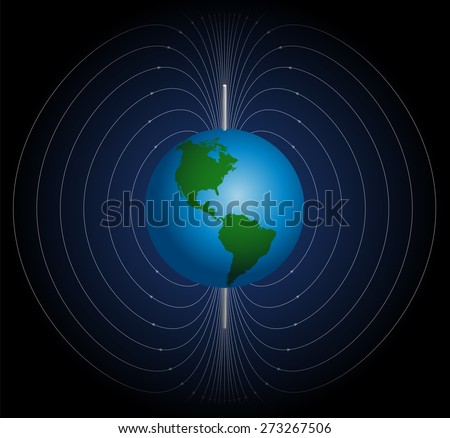 Stock Photo Terrestrial magnetic field around planet earth. Vector illustration on blue to black gradient background.