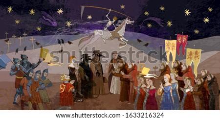 Terrible doctors. Medieval scene. Plague epidemic. Horseman of death on horse. World pestilence. Coronavirus art. Ancient book illustration. Middle Ages parchment style Stockfoto ©