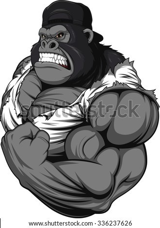 Terrible Gorilla Athlete Stock Vector Illustration ...